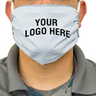 """Image of a man wearing a mask with the words """"your logo here"""" imprinted on it"""